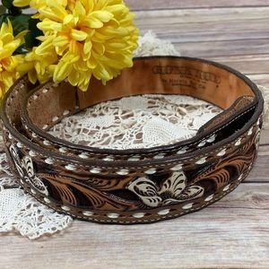 Vintage Leather Belt Tooled Floral Nocona Kona Kut